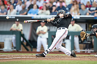 Louisville Cardinals catcher Henry Davis (32) swings the bat during Game 12 of the NCAA College World Series against the Vanderbilt Commodores on June 21, 2019 at TD Ameritrade Park in Omaha, Nebraska. Vanderbilt defeated Louisville 3-2. (Andrew Woolley/Four Seam Images)