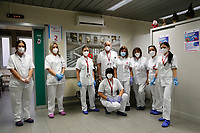 The staff the vaccination hospital ward during the first day of Covid-19 vaccine campaign at the Policlinico Umberto I. After the yesterday demonstration vaccines, today 9500 vaccines were distributed in the Italian hospitals. The first people to receive the Pfizer-Biontech Covid vaccine are nurses, doctors, and hospital staff.<br /> Rome(Italy), December 28th 2020<br /> Photo Samantha Zucchi/Insidefoto
