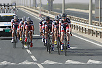 Lotto-Belisol team warms up before the 2nd Stage of the 2012 Tour of Qatar an 11.3km team time trial at Lusail Circuit, Doha, Qatar. 6th February 2012.<br /> (Photo Eoin Clarke/Newsfile)