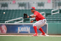 Boston Red Sox first baseman Danny Diaz (7) waits to receive a throw during a Florida Instructional League game against the Baltimore Orioles on September 21, 2018 at JetBlue Park in Fort Myers, Florida.  (Mike Janes/Four Seam Images)