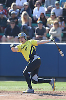 Josh Graham #18 of the Oregon Ducks bats against the Loyola Marymount Lions at Page Stadium on February 23, 2014 in Los Angeles, California. Oregon defeated Loyola, 4-3. (Larry Goren/Four Seam Images)