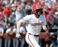 Arkansas shortstop Jalen Battles rounds the bases Friday, June 4, 2021, after hitting a solo home run during the fifth inning of the Razorbacks' 13-8 win over New Jersey Institute of Technology in the first game of the NCAA Fayetteville Regional at Baum-Walker Stadium in Fayetteville. Visit nwaonline.com/210605Daily/ for today's photo gallery.<br /> (NWA Democrat-Gazette/Andy Shupe)