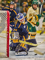 29 December 2013:  Canisius College Golden Griffins goaltender Keegan Asmundson, a Junior from Inver Grove Heights, MN, makes a second period save against the University of Vermont Catamounts at Gutterson Fieldhouse in Burlington, Vermont. The Catamounts defeated the Golden Griffins 6-2 in the 2013 Sheraton/TD Bank Catamount Cup NCAA Hockey Tournament. Mandatory Credit: Ed Wolfstein Photo *** RAW (NEF) Image File Available ***