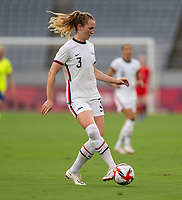 TOKYO, JAPAN - JULY 21: Samantha Mewis #3 of the USWNT passes during a game between Sweden and USWNT at Tokyo Stadium on July 21, 2021 in Tokyo, Japan.