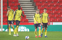 Huddersfield Town's players look dejected<br /> <br /> Photographer Mick Walker/CameraSport<br /> <br /> The EFL Sky Bet Championship - Stoke City v Huddersfield Town - Saturday 21st November 2020 - bet365 Stadium - Stoke<br /> <br /> World Copyright © 2020 CameraSport. All rights reserved. 43 Linden Ave. Countesthorpe. Leicester. England. LE8 5PG - Tel: +44 (0) 116 277 4147 - admin@camerasport.com - www.camerasport.com