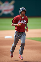 Lehigh Valley IronPigs outfielder Nick Williams (19) runs the bases after hitting a home run during a game against the Columbus Clippers on May 12, 2016 at Huntington Park in Columbus, Ohio.  Lehigh Valley defeated Columbus 2-1.  (Mike Janes/Four Seam Images)