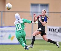Monfalcone, Italy, April 26, 2016.<br /> USA's #14 Wingate kicks the ball USA v Iran football match at Gradisca Tournament of Nations (women's tournament). Monfalcone's stadium.<br /> © ph Simone Ferraro / Isiphotos