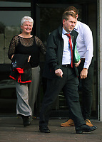 Pictured: The parents of Tom Crouch, a victim of Nadine May leaves Swansea Crown Court.<br /> Re: Piano teacher Nadine May for who defrauded her piano students of fake examination fees, on trial at Swansea Crown Court, Wales, UK.