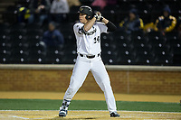 Gavin Sheets (24) of the Wake Forest Demon Deacons at bat against the Kent State Golden Flashes in game two of a double-header at David F. Couch Ballpark on March 4, 2017 in Winston-Salem, North Carolina.  The Demon Deacons defeated the Golden Flashes 5-0.  (Brian Westerholt/Four Seam Images)