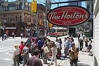 Toronto,  CANADA - File Photo - Downtown Toronto - Tim Horton coffee shop<br /> <br /> Photo :  Agence Quebec Presse - Pierre Roussel