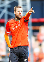 21st November 2020; Kenilworth Road, Luton, Bedfordshire, England; English Football League Championship Football, Luton Town versus Blackburn Rovers; Sonny Bradley of Luton Town instructing to team