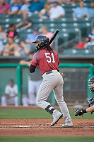 Henry Ramos (51) of the Sacramento River Cats at bat against the Salt Lake Bees at Smith's Ballpark on July 18, 2019 in Salt Lake City, Utah. The Bees defeated the River Cats 9-6. (Stephen Smith/Four Seam Images)