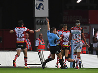 24th September 2021;  Kingsholm Stadium, Gloucester, England; Gallaher Premiership Rugby, Gloucester Rugby versus Leicester Tigers: Gloucester celebrate as Ruan Ackermann of Gloucester