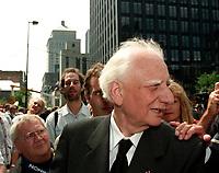 Roger Taillibert  aux Funerailles de Jean Drapeau, le 13 aout 1999<br /> a la Basilique Notre-Dame.<br /> <br /> PHOTO :  Agence Quebec Presse