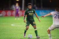 LAKE BUENA VISTA, FL - AUGUST 11: Eryk Williamson #30 of the Portland Timbers dribble the ball during a game between Orlando City SC and Portland Timbers at ESPN Wide World of Sports on August 11, 2020 in Lake Buena Vista, Florida.