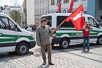 """Ca. 1000 Nazis aus ganz Deutschland marschierten am Sonntag den 1. Mai 2016 im Saeschsichen Plauen auf. Die Naziorganisation 3.Weg hatte den Marsch angemeldet. Etliche Nazis waren dabei vermummt und zeigten auch den Hitlergruss, die Polizei schritt jedoch nicht ein.<br /> Nach der Haelfte der Marschroute beendeten die Nazis ihre Demonstration, da die Polizei die Marschroute verkuerzen wollte. Sie forderten die Polizei auf den Weg freizugeben. Danach griffen Aufmarschteilnehmer die Polizei an, die daraufhin Wasserwerfer, Pfefferspray, Traenengas und Schlagstoecke einsetzte. Mehrere Gruppen Nazis zogen danach durch Plauen und jagten Menschen.<br /> Nach einer Stunde bekamen die Nazis einen erneuten Aufmarsch von der Polizei genehmigt und zogen zurueck zum Bahnhof.<br /> Im Bild: Thomas """"Steiner"""" Wulff, Nazianfuehrer aus Hamburg. Seinen Spitznamen hat er sich vom SS Obergruppenfuehrer Felix Steiner genommen.<br /> 1.5.2016, Plauen<br /> Copyright: Christian-Ditsch.de<br /> [Inhaltsveraendernde Manipulation des Fotos nur nach ausdruecklicher Genehmigung des Fotografen. Vereinbarungen ueber Abtretung von Persoenlichkeitsrechten/Model Release der abgebildeten Person/Personen liegen nicht vor. NO MODEL RELEASE! Nur fuer Redaktionelle Zwecke. Don't publish without copyright Christian-Ditsch.de, Veroeffentlichung nur mit Fotografennennung, sowie gegen Honorar, MwSt. und Beleg. Konto: I N G - D i B a, IBAN DE58500105175400192269, BIC INGDDEFFXXX, Kontakt: post@christian-ditsch.de<br /> Bei der Bearbeitung der Dateiinformationen darf die Urheberkennzeichnung in den EXIF- und  IPTC-Daten nicht entfernt werden, diese sind in digitalen Medien nach §95c UrhG rechtlich geschuetzt. Der Urhebervermerk wird gemaess §13 UrhG verlangt.]"""