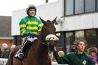 Jockey Tom Scudamore is led out of the Parade Ring onboard Milreu Has prior to The That Friday-Ad Feeling Novices' Hurdle during Horse Racing at Plumpton Racecourse on 10th February 2020