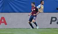 Cleveland, OH - Saturday July 15, 2017: Kelyn Rowe celebrates his goal during a 2017 Gold Cup match between the men's national teams of the United States (USA) and Nicaragua (NCA) at FirstEnergy Stadium.