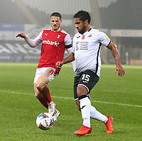 21st November 2020; Liberty Stadium, Swansea, Glamorgan, Wales; English Football League Championship Football, Swansea City versus Rotherham United; Wayne Routledge of Swansea City controls the ball as Ben Wiles of Rotherham United pressures from behind