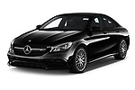 2019 Mercedes Benz CLA Coupe 45 AMG 4 Door Sedan angular front stock photos of front three quarter view