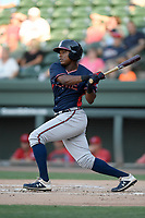 Left fielder Jeremy Fernandez (32) of the Rome Braves bats in a game against the Greenville Drive on Friday, June 28, 2019, at Fluor Field at the West End in Greenville, South Carolina. Rome won, 4-3. (Tom Priddy/Four Seam Images)