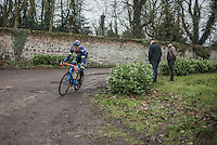 Kevin van Melsen (BEL/Wanty-Groupe Gobert) on the Chemin de Wihéries cobble section (Honelles)<br /> <br /> GP Le Samyn 2017 (1.1)