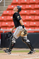 Catcher Tony Sanchez #29 of the West Virginia Power watches the flight of a pop fly at L.P. Frans Stadium August 9, 2009 in Hickory, North Carolina. (Photo by Brian Westerholt / Four Seam Images)