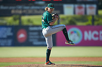 Greensboro Grasshoppers relief pitcher Braeden Ogle (14) in action against the Piedmont Boll Weevils at Kannapolis Intimidators Stadium on June 16, 2019 in Kannapolis, North Carolina. The Grasshoppers defeated the Boll Weevils 5-2. (Brian Westerholt/Four Seam Images)