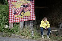 young fan waiting up the Col de Portet-d'Aspet<br /> <br /> Stage 16 from El Pas de la Casa to Saint-Gaudens (169km)<br /> 108th Tour de France 2021 (2.UWT)<br /> <br /> ©kramon