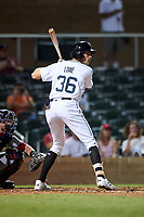 Salt River Rafters Josh Lowe (36), of the Tampa Bay Rays organization, at bat during an Arizona Fall League game against the Mesa Solar Sox on September 27, 2019 at Salt River Fields at Talking Stick in Scottsdale, Arizona. Salt River defeated Mesa 6-1. (Zachary Lucy/Four Seam Images)