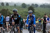 Maximiliano Richeze (ARG/Deceuninck Quick Step) and Enric Mas (ESP/Deceuninck Quick Step) post race ready to make the descend back to the team bus. <br /> <br /> Stage 15: Limoux to Foix Prat d'Albis (185km)<br /> 106th Tour de France 2019 (2.UWT)<br /> <br /> ©kramon