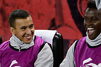 """Harrison, NJ - Thursday March 01, 2018: Alejandro Romero Gamarra """"Kaku"""", Carlos Rivas. The New York Red Bulls defeated C.D. Olimpia 2-0 (3-1 on aggregate) during a 2018 CONCACAF Champions League Round of 16 match at Red Bull Arena."""
