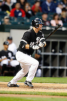 August 7, 2009:  Catcher A.J. Pierzynski (12) of the Chicago White Sox at bat during a game vs. the Cleveland Indians at U.S. Cellular Field in Chicago, IL.  The Indians defeated the White Sox 6-2.  Photo By Mike Janes/Four Seam Images