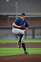 Connecticut Tigers relief pitcher Jake Baker (28) during a NY-Penn League game against the Auburn Doubledays on July 12, 2019 at Falcon Park in Auburn, New York.  Auburn defeated Connecticut 7-5.  (Mike Janes/Four Seam Images)