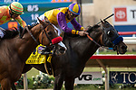 """DEL MAR, CA  JULY 28: #4 Ollie's Candy, ridden by Kent Desormeaux, narrowly defeats #3 Secret Spice, ridden by Flavien Prat, to win the Clement L Hirsch Stakes (Grade 1) a Breeders' Cup """"Win and You're In"""" Distaff Division (Photo by Casey Phillips/Eclipse Sportswire/CSM)"""