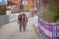 "The ""BIG 3"" + 1 detaching themselves from the rest up the Taaienberg: Mathieu Van der Poel (NED/Alpecin-Fenix), Wout van Aert (BEL/Jumbo-Visma), Julian Alaphilippe (FRA/Deceuninck - QuickStep) & Kasper Asgreen (DEN/Deceuninck - Quick Step)<br /> <br /> 105th Ronde van Vlaanderen 2021 (MEN1.UWT)<br /> <br /> 1 day race from Antwerp to Oudenaarde (BEL/264km) <br /> <br /> ©kramon"