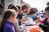 Clément CHEVRIER (FRA/AG2R-LaMondiale) signing autographs for the young kids at the race start in Ans<br /> <br /> 83rd La Flèche Wallonne 2019 (1.UWT)<br /> One day race from Ans to Mur de Huy (BEL/195km)<br /> <br /> ©kramon