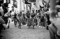 riders on the last ascent of the very steep (20%) cobbled Via Principi d'Acaja<br /> <br /> stage 18: Muggio - Pinerolo (240km)<br /> 99th Giro d'Italia 2016