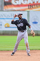Lansing Lugnuts shortstop Jesus Navarro (37) throws the ball around the infield between innings during a Midwest League game against the Clinton LumberKings on July 15, 2018 at Ashford University Field in Clinton, Iowa. Clinton defeated Lansing 6-2. (Brad Krause/Four Seam Images)