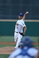 Chase De Jong (14) of the Rancho Cucamonga Quakes pitches during a game against the High Desert Mavericks at LoanMart Field on August 3, 2015 in Rancho Cucamonga, California. Rancho Cucamonga defeated High Desert, 2-1. (Larry Goren/Four Seam Images)