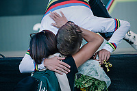 Remco Evenepoel (BEL) is the new World Champion / hugging his mom from the podium<br /> <br /> MEN JUNIOR ROAD RACE<br /> Kufstein to Innsbruck: 132.4 km<br /> <br /> UCI 2018 Road World Championships<br /> Innsbruck - Tirol / Austria