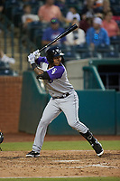Yolbert Sanchez (2) of the Winston-Salem Dash at bat against the Greensboro Grasshoppers at First National Bank Field on June 3, 2021 in Greensboro, North Carolina. (Brian Westerholt/Four Seam Images)
