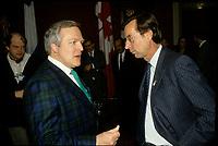 circa 1998 file Photo --Marcel Aubut,<br /> and Robert Bourassa, quebec Premier (R)