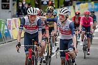 young guns Michel Ries (LUX/Trek - Segafredo) & Mattias Skjelmose Jensen (DEN/Trek - Segafredo) literally crossing the finish line together <br /> <br /> 73rd Critérium du Dauphiné 2021 (2.UWT)<br /> Stage 8 (Final) from La Léchère-Les-Bains to Les Gets (147km)<br /> <br /> ©kramon