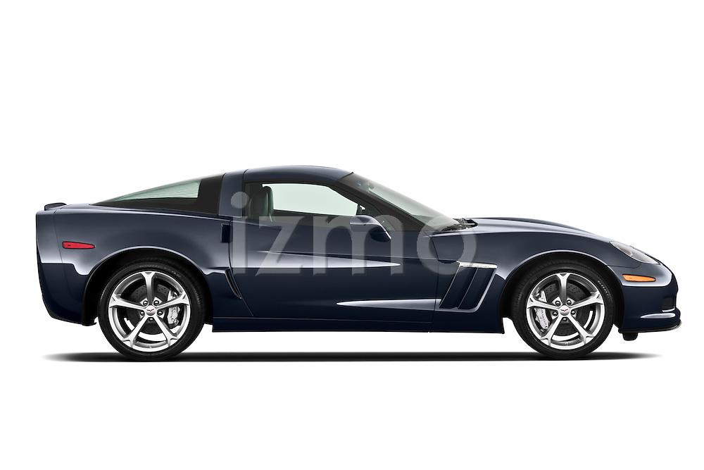 Passenger side profile view of a 2010 Chevrolet Corvette GS Coupe