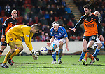 St Johnstone v Dundee United...27.12.14   SPFL<br /> Radoslaw Cierzniak gets the ball ahead of Steven MacLean<br /> Picture by Graeme Hart.<br /> Copyright Perthshire Picture Agency<br /> Tel: 01738 623350  Mobile: 07990 594431