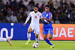 Ali Jaafar Madan of Bahrain (L) fights for the ball with Hali Charan Narzary of India during the AFC Asian Cup UAE 2019 Group A match between India (IND) and Bahrain (BHR) at Sharjah Stadium on 14 January 2019 in Sharjah, United Arab Emirates. Photo by Marcio Rodrigo Machado / Power Sport Images