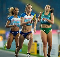 1st May 2021; Silesian Stadium, Chorzow, Poland; World Athletics Relays 2021. Day 1; Emily Diamond takes the baton from Laviai Nielsen of Great Britain in the mixed 4 x 400 relay heats