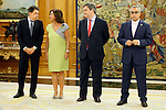 King Juan Carlos of Spain and Prince Felipe of Spain recive in audience to COI representation for candidature of Madrid 2020 Olympic Games in a Zarzuela Place in Madrid. In the pic: Ignacio Gomez, Ana Botella, Miguel Cardenal and Alejandro Blanco. September 10, 2013. (ALTERPHOTOS/Caro Marin)