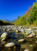 Peabody River with Mount Washington off in the distance. Located in the White Mountain National Forest of New Hampshire USA .
